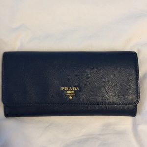 Prada navy blue leather wallet